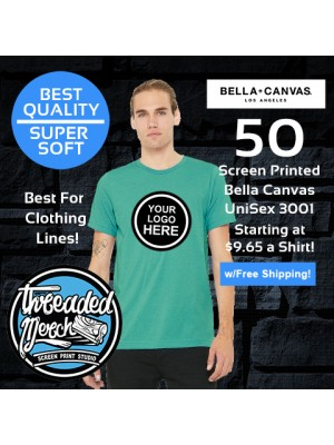 50 Custom Screen Printed Bella+Canvas T Shirt Special