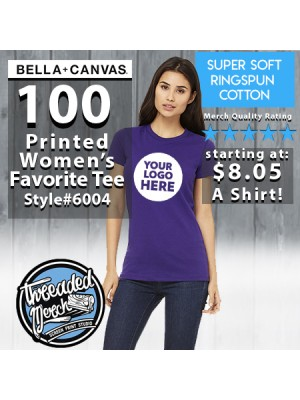 100 Custom Screen Printed Bella + Canvas 6004 Ladies ' The Favorite T-Shirt '