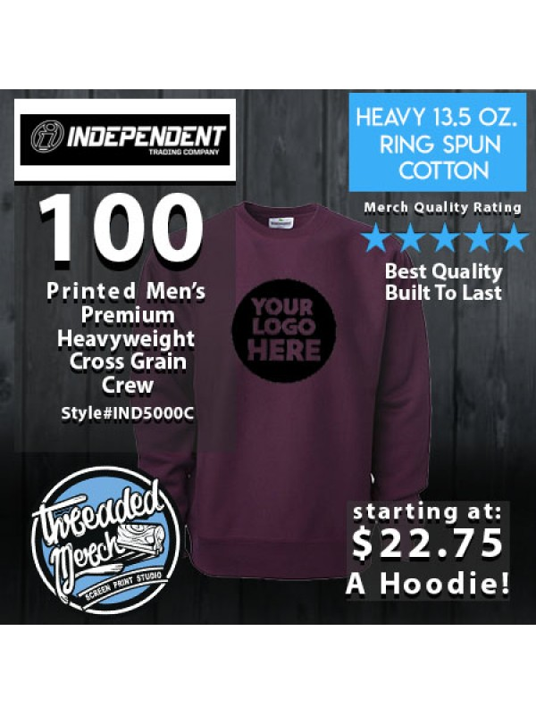 100 Independent Trading Company IND500C Men's Premium Heavy Weight Crew
