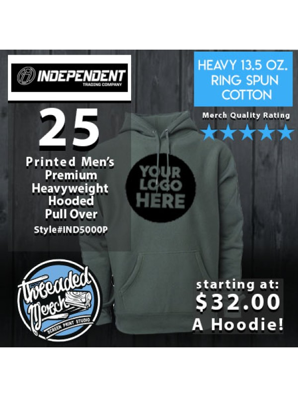 25 Independent Trading Company IND500P Men's Premium Heavy Weight Hooded Pull Over