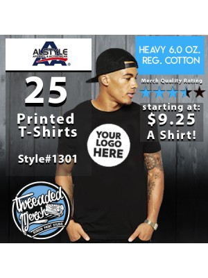 25 Alstyle 1301 Custom Screen Printed T Shirts Special