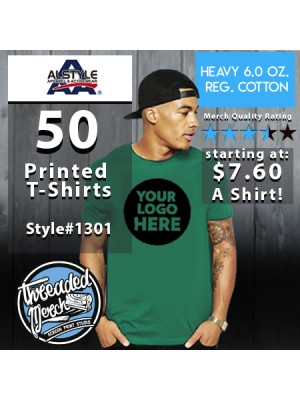 50 Alstyle 1301 Custom Screen Printed T Shirts Special
